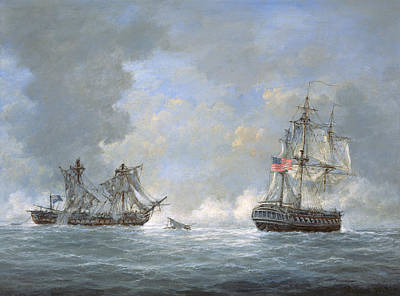 The Action Between Us Frigate United States And The British Frigate Macedonian Poster by Richard Willis