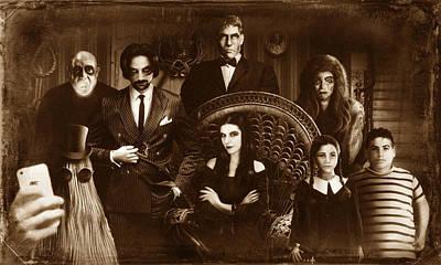 The Addams Family Sepia Version Poster by Alessandro Della Pietra