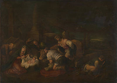 The Adoration Of The Shepherds Poster by Follower of Jacopo Bassano