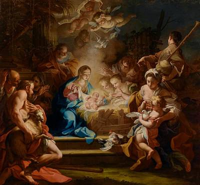 The Adoration Of The Shepherds Poster by Sebastiano Conca