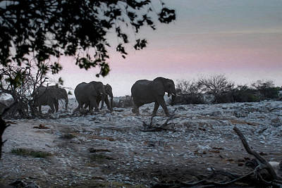 Poster featuring the digital art The African Elephants by Ernie Echols