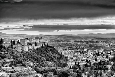 The Alhambra And Granada City At Sunset Bw Poster