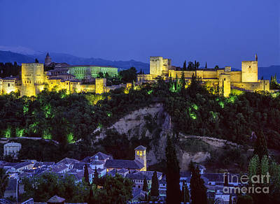 The Alhambra And Sierra Nevada At Blue Hour Poster by Guido Montanes Castillo