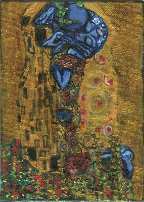 The Alien Kiss By Blastoff Klimt Poster