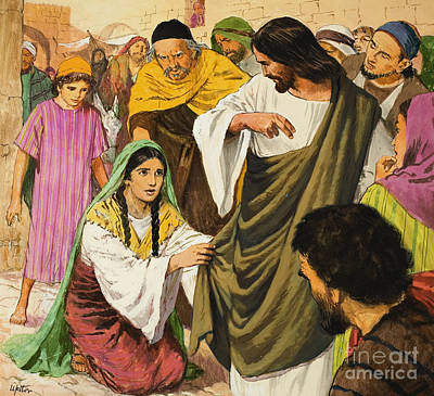 The Amazing Love Of Jesus  The Woman In The Crowd Poster by Clive Uptton