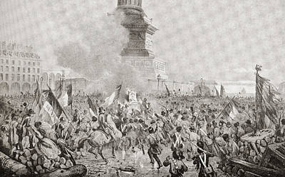 The Angry Paris Mob Burning The Royal Poster by Vintage Design Pics