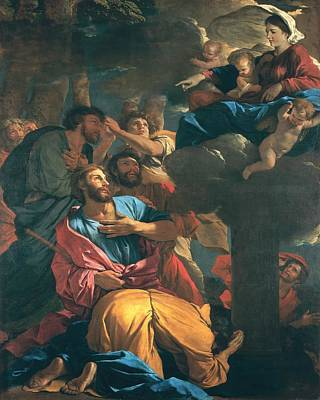 The Apparition Of The Virgin The St James The Great Poster by Nicolas Poussin
