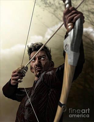 Poster featuring the digital art The Archer by Sandra Bauser Digital Art