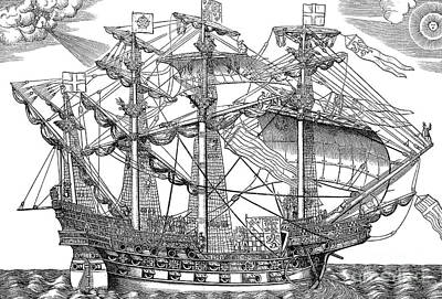The Ark Raleigh, The Flagship Of The English Fleet Poster by English School