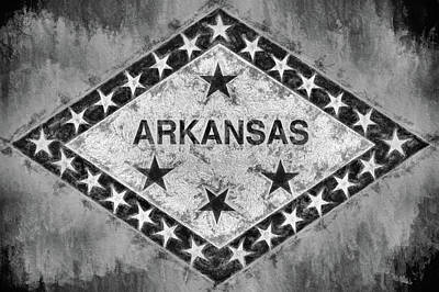 The Arkansas State Flag In Black And White Poster by JC Findley