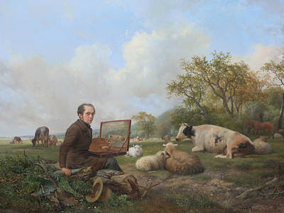 The Artist Painting A Cow In A Meadow Landscape Poster