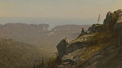 The Artist Sketching At Mount Desert Poster by Sanford Robinson Gifford