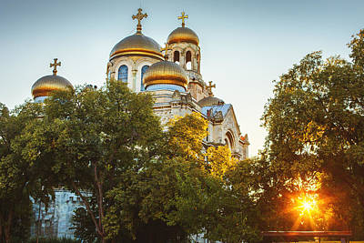 The Assumption Cathedral Of Modern Byzantine Style With Golden D Poster by Valentin Valkov