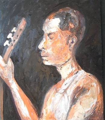 Poster featuring the painting The Baglama Player by Esther Newman-Cohen