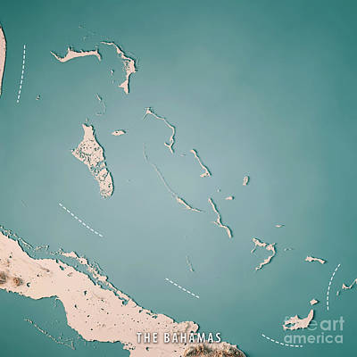 The Bahamas 3d Render Topographic Map Neutral Poster