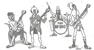 Poster featuring the drawing The Band by R  Allen Swezey