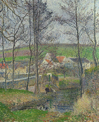 The Banks Of The Viosne At Osny In Grey Weather, Winter Poster by Camille Pissarro