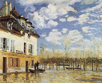 The Bark During The Flood Port Marly Poster by Alfred Sisley