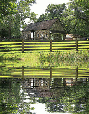 The Barn And The Pond Pennsbury Manor Poster by Valerie Stein