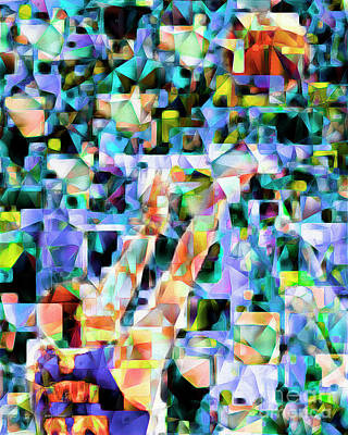The Basketball Jump Shot In Abstract Cubism 20170328 Poster