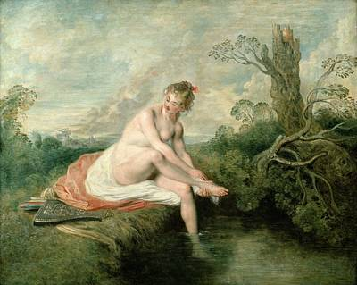 The Bath Of Diana Poster by Jean Antoine Watteau