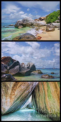 The Baths Virgin Gorda National Park Triptych Poster