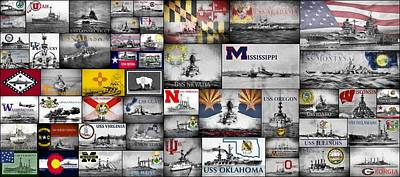 The Battleships Of All 50 States Poster by JC Findley
