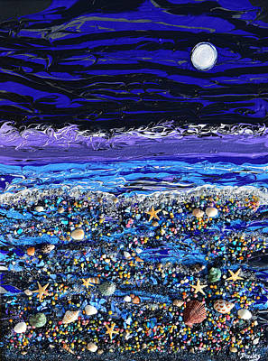 The Beach By Moonlight Poster by Donna Blackhall