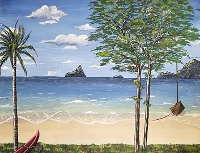 The Beach Painting  Poster by Nermine Hanna
