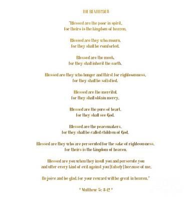 Poster featuring the digital art The Beatitudes Gospel Of Matthew by Rose Santuci-Sofranko