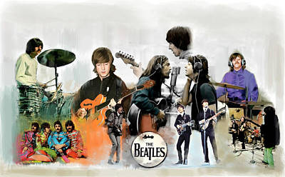 Poster featuring the painting The Beatles Fabs by Iconic Images Art Gallery David Pucciarelli
