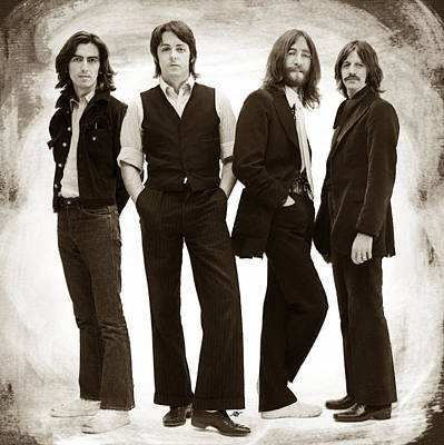 The Beatles Painting Late 1960s Early 1970s Sepia Poster by Tony Rubino