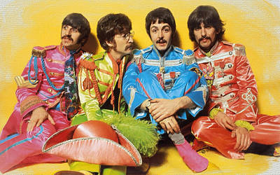 The Beatles Sgt. Pepper's Lonely Hearts Club Band Painting 1967 Color Poster