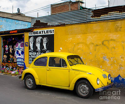 The Beatles With A Beetle Poster by Amy Sorvillo