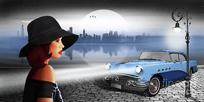 The Beauty At Night With Vintage Car Poster