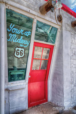 The Bent Door On Historic Route 66 Poster by Priscilla Burgers