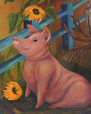 The Better Life - Pig Poster by Debbie McCulley