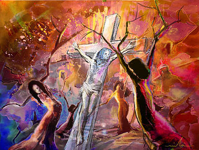 The Bible Crucifixion Poster by Miki De Goodaboom