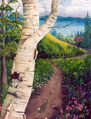 Poster featuring the painting The Birch by Renate Nadi Wesley