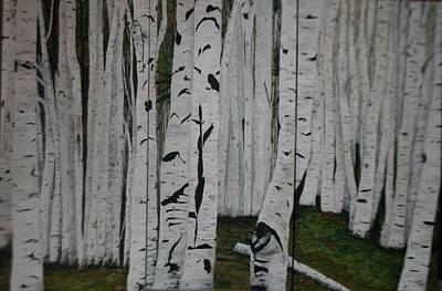 Poster featuring the painting The Birches.. by Betty-Anne McDonald