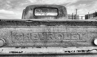 The Black And White Chevy Truck Poster