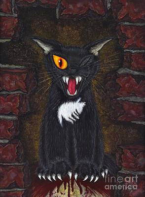 Poster featuring the painting The Black Cat Edgar Allan Poe by Carrie Hawks