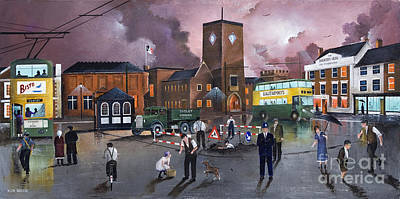 Dudley Trolley Bus Terminus 1950's Poster