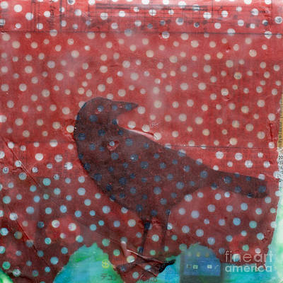 The Black Crow Knows Snowfall Encaustic Mixed Media Poster