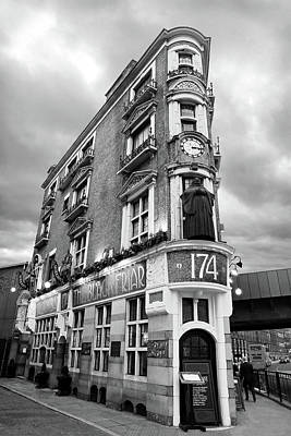 The Black Friar London Pub Bar In Black And White Poster by Gill Billington