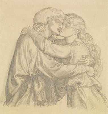 The Blessed Damozel - Study Of Two Lovers Embracing Poster
