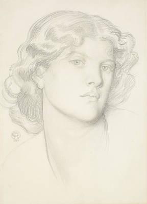 The Blue Bower - Female Head Study Poster by Dante Gabriel Rossetti