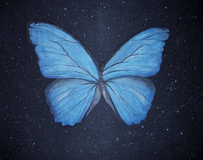 Poster featuring the painting The Blue Butterfly by Edwin Alverio