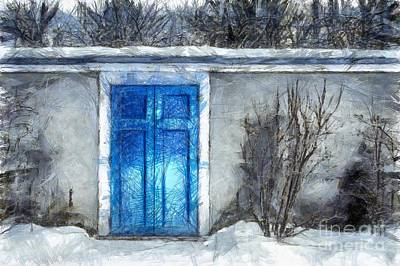 The Blue Door Beckons Pencil Poster by Edward Fielding