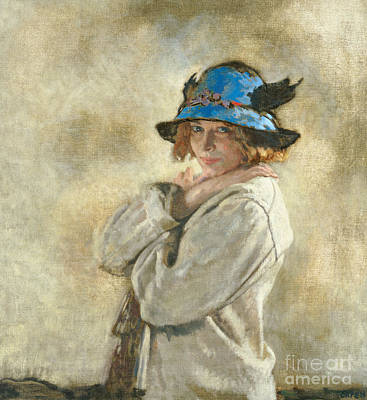 The Blue Hat Poster by Sir William Orpen